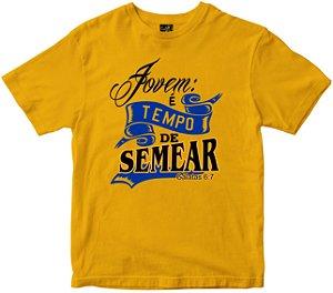 Camiseta Jovem é Tempo de semear amarela Rainha do Brasil