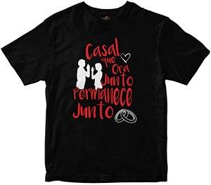 Camiseta Casal que ora junto preta Rainha do Brasil