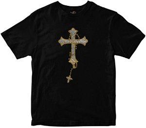 Camiseta Cruz que cai preta strass Rainha do Brasil