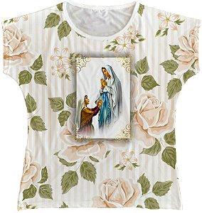 Blusa Feminina bata Nossa Senhora de Lourdes Rainha do Brasil