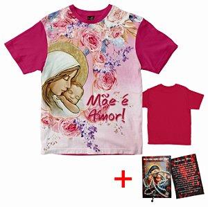 Combo - Camiseta Dia das Mães + Terço Mães que Oram Rainha do Brasil