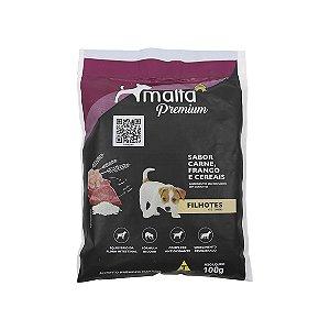 Ração Malta Premium para Cães Filhotes até 12 meses, sabor Carne, Frango e Cereais - 100g