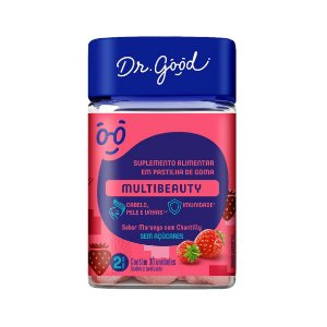 Multibeauty de 114g, Sabor Morango com Chantilly da Dr. Good - 30 gomas