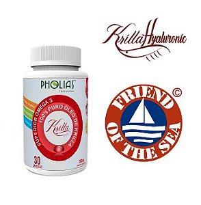 Óleo de Krill 500mg Krilla c/ Ácido Hialurônico, 30 Cápsulas, Pholias