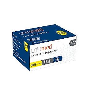 Lanceta de Segurança com Agulha Retrátil de 30G x 1,5mm da Uniqmed - Caixa 100 Unidades