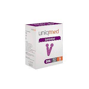 Lancetas Ultra Fina de tamanho 28g da Uniqmed - Caixa 100 Unidades