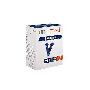 Lancetas Ultra Fina de tamanho 30g da Uniqmed - Caixa 100 Unidades