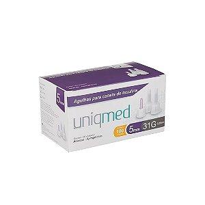 Agulhas para Caneta de Insulina 5mm 31G da Uniqmed - Caixa 100 Unidades