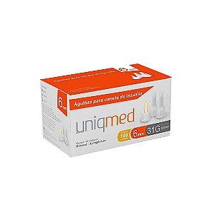 Agulhas para Caneta de Insulina 6mm 31G da Uniqmed - Caixa 100 Unidades