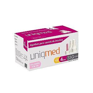 Agulhas para Caneta de Insulina Nano 4mm 33G da Uniqmed - Caixa 100 Unidades