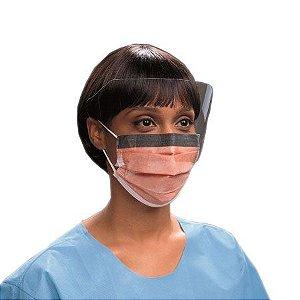 Máscara Cirúrgica com Visor, tira ELÁSTICA, Fluidshield, 4 camadas - 25 unidades