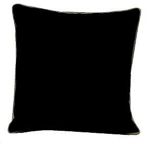 Almofada veludo preto com veludo palha