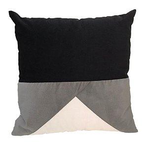 Almofada veludo cinza e preto