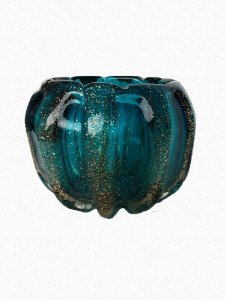 Vaso G Decorativo Azul e Dourado