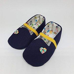 Sapatinho Jujuba Linho Azul Marinho