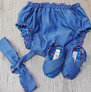 Kit - Sandalinha Cruzada, Tapa Fralda e Faixa Lacinho Jeans