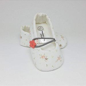 Sapatinho Nina Floral Branco