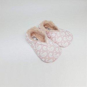 Sapatinho Pantufinha Rosa Bebê Mandalas com Pelúcia