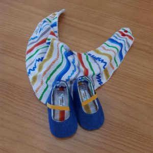 Kit - Sapatinho Nina e Babador Bandana Jeans e Listrado Colorido