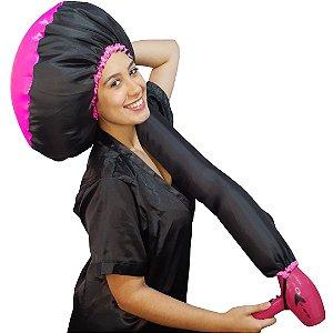 Touca Difusora de Cetim Anti Frizz Preta e Pink - Boutique Dos Cachos