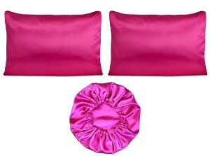 Kit 2 fronhas + touca Duplo Cetim - pink