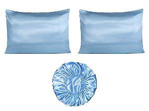 Kit 2 fronhas + touca Duplo Cetim - Azul Bebe