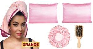 Kit Toalha Antifrizz + kit de cetim Rosa BB + Escova grande