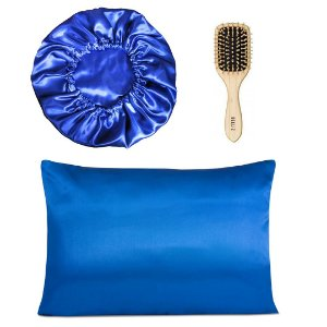 Kit Touca Duplo Cetim+ Fronha Azul Royal+ Escova Madeira