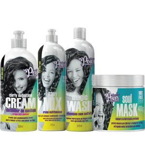 Kit Soul Power Curly Def Cream+ Magic Wash+ Easy Mix+Soul Mask