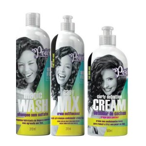 Kit Soul Power  Curly Defin Cream + Easy Mix+ Magic Wash