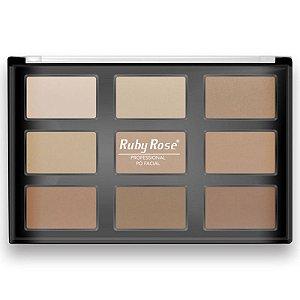 Paleta de Pó Facial Makeup Uso Profissional Ruby Rose