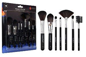 Kit Com 7 pincéis para maquiagem Macrilan