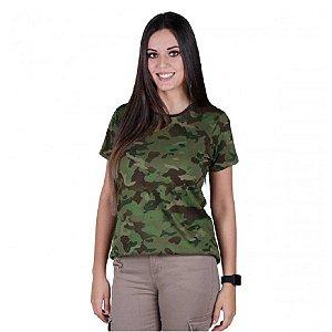 Camiseta Feminina Soldier Camuflada Bélica Tropic
