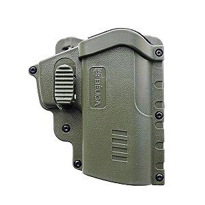 Coldre Eagle Em Polímero Bélica Destro C/ Adaptador de Cintura - Verde