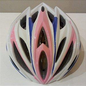 Capacete de Ciclismo Inmold Top All Company - Rosa, Azul e Branco