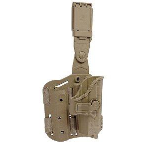 Coldre Beretta II Em Polímero Bélica Canhoto P/ Coxa - Coyote