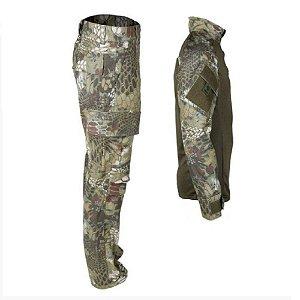 Farda Tática Bélica - Calça e Combat Shirt Camuflada Kryptek Mandrake