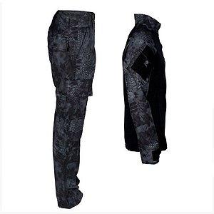 Farda Tática Bélica - Calça e Combat Shirt Camuflado Kryptek Typhon