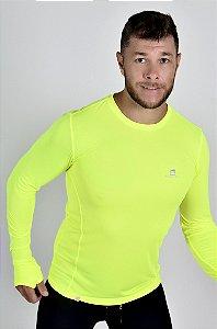 Camiseta Gumm Tech Run Manga Longa Amarelo Flúor Masculina