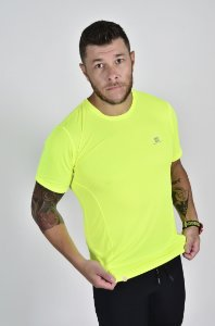Camiseta Gumm Tech Run Manga Curta Amarelo Flúor Masculina