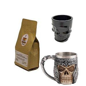 KIT: Café Terra Molhada EM GRÃOS 250gr +caneca viking + copo de caveira.
