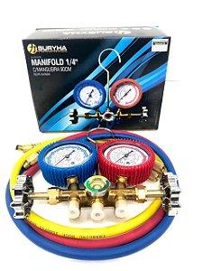"Manifold 1/4"" C/ Mangueira 90cm Suryha | R22/R134/R404"