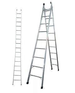 Escada Extensiva de Alumínio Agatha com 8 degraus