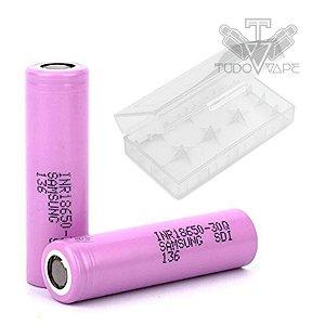 2x Baterias Samsung 30Q tamanho 18650 + Case Plástico