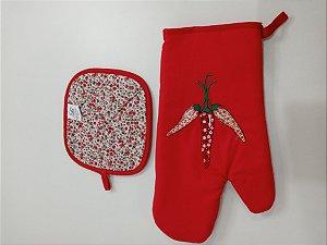 Kit Luva com pegador de panela - Vermelho bordado