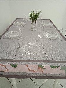 Toalha de Mesa Cloé (Cinza com Flores rosa) - Tecido com Impermeabilidade