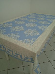 Toalha de Mesa Bruna (Estampa azul Persa) - Linho