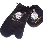 Kit Luva com pegador de panela bordado galinha d'angola