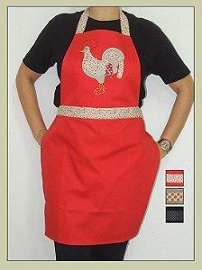 Avental feminino em patchwork vermelho galo