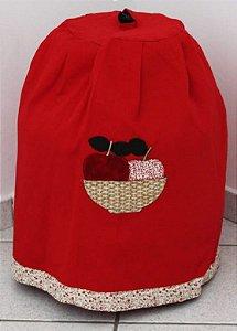 Capa de botijão vermelha bordado cesta de frutas